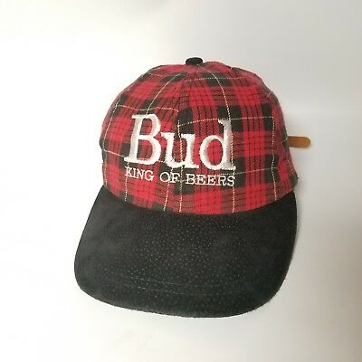 VINTAGE BUD BUDWEISER KING OF BEERS HAT RED Suede LEATHER STRAPBACK Plaid  TV 90s 1b5d89820388