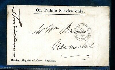 New Zealand  1866  On Public Service Only 'Free'  to Newmarket    (M180)