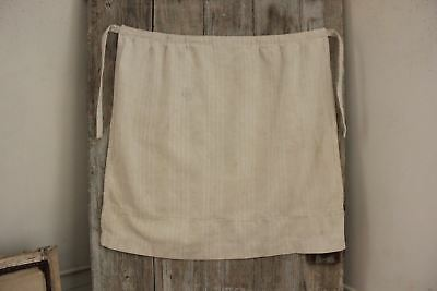 Apron Antique French Faded Ticking Fabric herringbone weave white with ties 1900