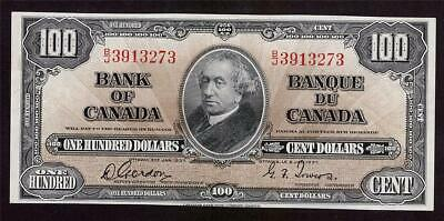 1937 Bank of Canada $100 banknote Gordon Towers B/J3913273 AU50+ EPQ