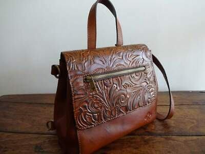 PATRICIA NASH Molina BROWN LEATHER Burnished TOOLED Florence Snap Flap BACKPACK