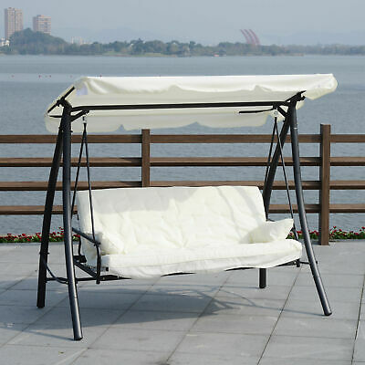 Outsunny 3 Seater Swing Chair 2-in-1 Hammock Bed Patio Garden Cushion Outdoor w/