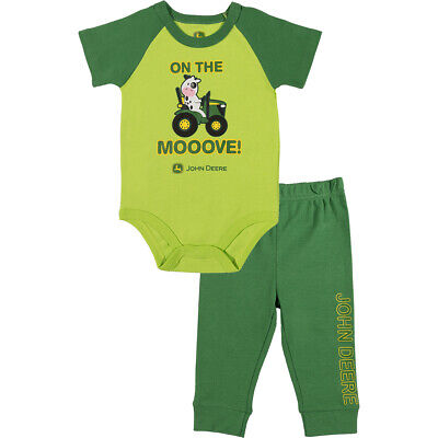 6//9 9//12 Mo 3//6 NEW John Deere Green Infant Boys On the Moove 2 Pc Pant