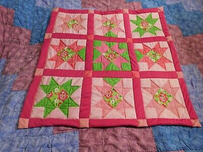 Handmade Strawberry Shortcake flower blanket, pink, girl throw, Small lap quilt