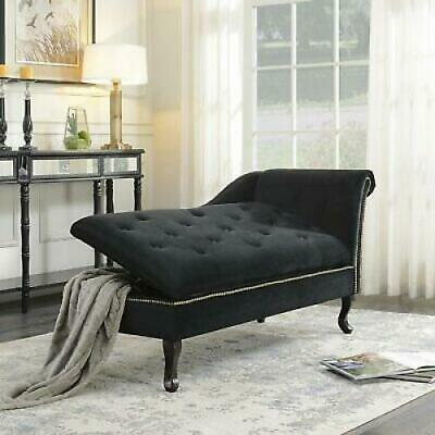 Peachy Storage Chaise Lounge Black Tufted Upholstered Bedroom Couch Inzonedesignstudio Interior Chair Design Inzonedesignstudiocom