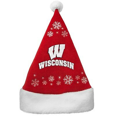 30f590a7af698 Wisconsin Badgers Boelter Brands Ncaa Licensed Holiday Santa Red Hat Cap  New Nwt
