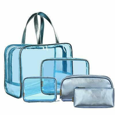 NiceEbag 5 in 1 Clear Makeup Bags Set Travel Cosmetics Storage Bag See Through