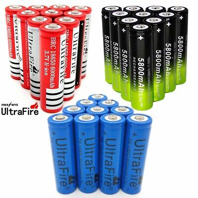 10pcs 6000mAh 18650 Battery Batteries 3.7V Rechargeable Smart Charger USA STOCK
