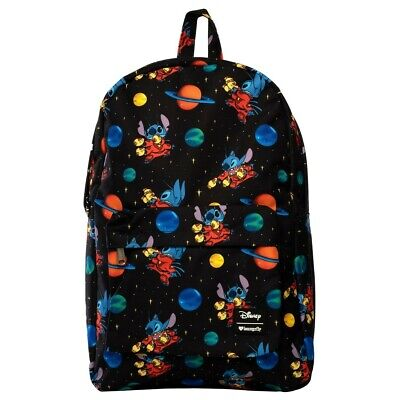 a1730957bed New LOUNGEFLY School Bag DISNEY Backpack STITCH Black Cosmos Universe Blue