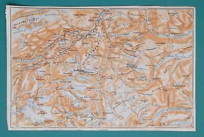 NORWAY Jotunheimen Nat'l Park Goldhoppigen Peak - 1912 Baedeker Map