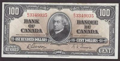 1937 Bank of Canada $100 note Gordon & Towers B/J3349035 VF35