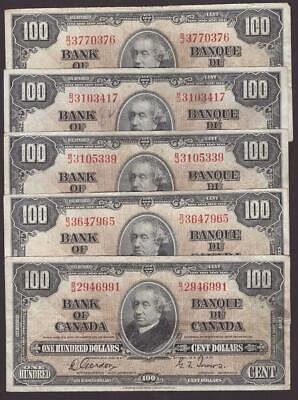 5x 1937 Bank of Canada $100 banknotes Gordon Towers F15 and VF20 grades
