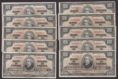 10x 1937 Bank of Canada $100 banknotes Gordon Towers F15 and VF20 grades
