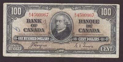 1937 Bank of Canada $100 note Coyne Towers B/J4500967 pinhole & graffiti F15