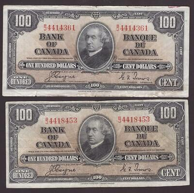 1937 Bank of Canada $100 error oversize note & regular size note  2x notes