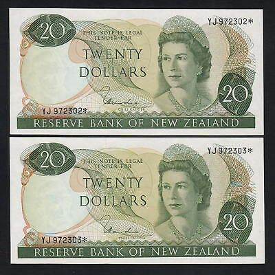 NEW ZEALAND P-167dS. (1977) $20 Hardie - STAR Notes. UNC - CONSEC Pair