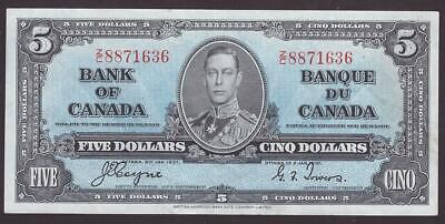 1937 Bank of Canada $5 banknote Coyne Towers Z/C 8871636 Choice EF45+ EPQ