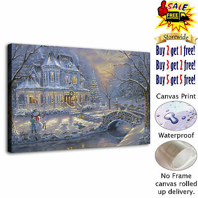 Snowy castle hd canvas print painting home decoration picture room wall art