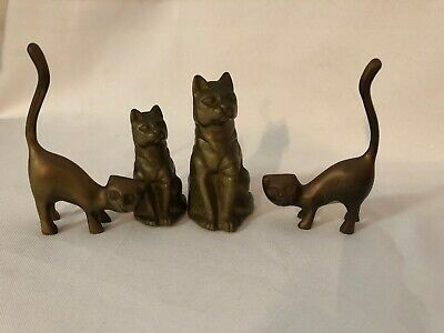 Set of 4 VINTAGE BRASS Cat FIGURINES Paperweight Ornaments