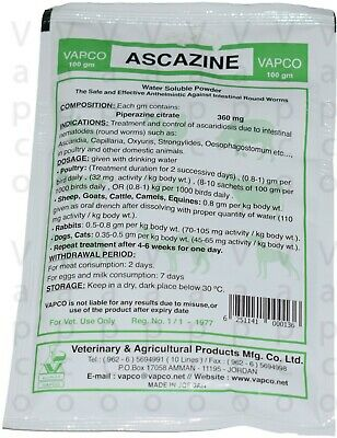 Piperazine Citrate 360g Animal Anthelmintic for cattle & other pets 100g powder