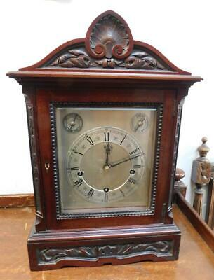 mahogany westminster chimes bracket clock on coil gongs c1900s