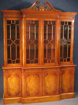 Chippendale Style Carved Mahogany Breakfront Display Cabinet On Cupboard Base