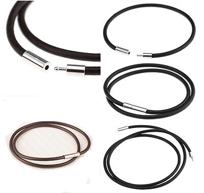 Stainless Steel Clasp Thin Genuine Leather Cord Chain Necklace/Bracelet 2/3mm