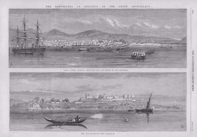 1867 Antique Print - GREECE LESBOS MYTILENE EARTHQUAKE HMS OCEAN SUPPLIES (274)