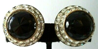 "Stunning Vintage Estate High End Rhinestone 1 1/8"" Clip Earrings!!! G465S"
