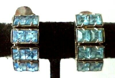 "Stunning Vintage Estate High End Blue Rhinestone 3/4"" Clip Earrings!!! G465Z"