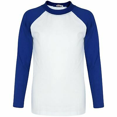 Boys Girls Royal T Shirt Plain American Baseball Long Raglan Sleeves Sports Tops