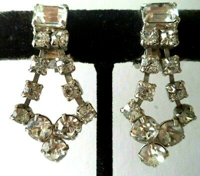 "Stunning Vintage Estate High End Rhinestone Silver Tone 1.5"" Clip Earrings G466R"