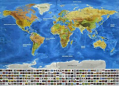 Large Scratch Off World Map Poster with Mountains,Rivers,Cities,Flags 825*595mm