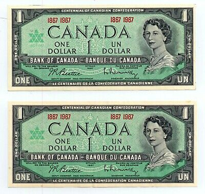 Canada Lot Vintage 3 Bank Of Canada Centennial 1867-1967 $1 Notes Unc Very Crisp Lot Strong Packing