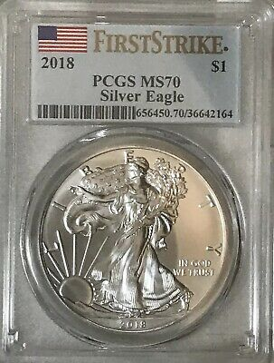 2018 $1 American Silver Eagle PCGS MS70 First Strike Label