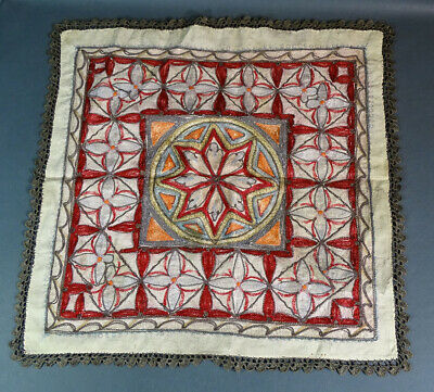 19c. ANTIQUE OTTOMAN TURKISH EMBROIDERY TABLECLOTH TABLE COVER  STAR FLORAL MAT