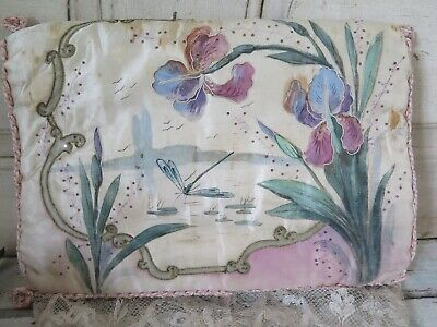 Antique ART NOUVEAU XL Silk Boudoir Lingerie bag Pochette 1890s SHABBY