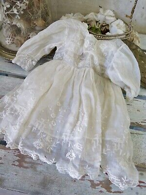 ANTIQUE french Toddler dress Musslin embroidered  Kinder Puppen Kleid  SHABBY