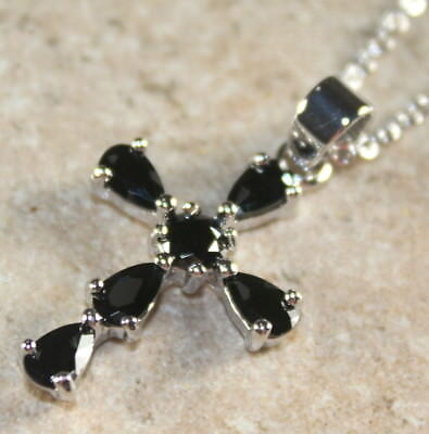 SILVER Elegant Black Onyx Cross Pendant Necklace