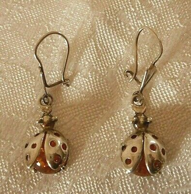 Vintage Sterling Silver & Amber Lady Bug Dangle Earrings ~ Darling!