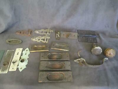 Antique Eastlake Hardware Lot Door Knobs Pocket Door Escutcheons Hinge Plus ks7
