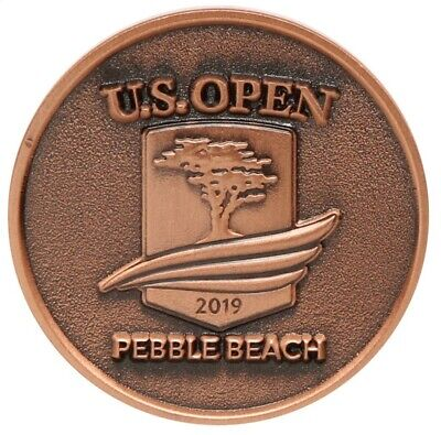 2019 US Open (PEBBLE BEACH) Large TWO SIDED - BRONZE - LOGO Golf BALL MARKER