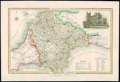 1846 - Antique Map of DEVONSHIRE by Slater CATHEDRAL CHURCH EXETER ST PETER