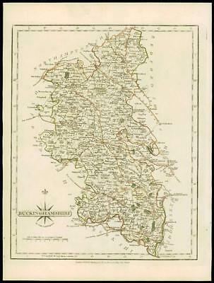 1793 Original Antique MAP of 'BUCKINGHAMSHIRE' by John Cary Outline Colour (04)