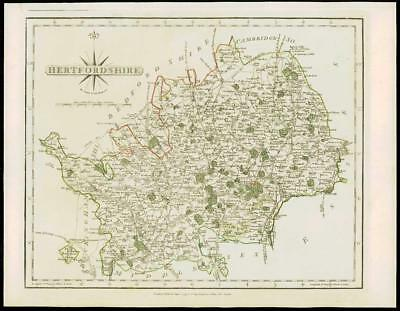1793 Original Antique MAP of 'HERTFORDSHIRE' by John Cary Outline Colour (19)