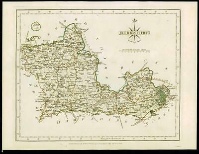 1793 Original Antique MAP of 'BERKSHIRE' by John Cary Outline Colour (03)