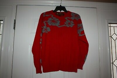 60ef79ae083f Scotty McGregors House of Cashmere Vintage Red Gray Print Sweater Womens  Size M