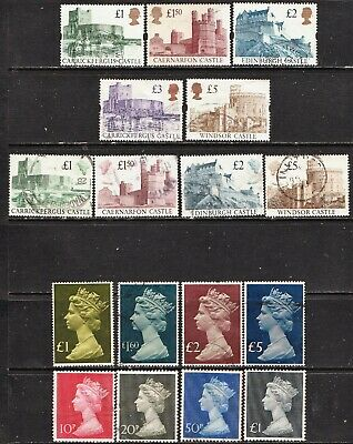 Great Britain Castles + High Value   Stamps  All Different  Used