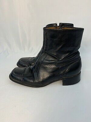 5882bff30f773 VINTAGE FLORSHEIM ANKLE Dress Boots Brown Leather Zip-Up Mens size ...