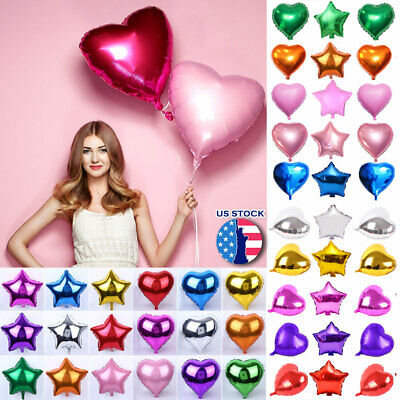 US 1/5/10/20 Pcs Party Heart Star Shaped Baloons Foil Helium Balloons 12/18/32''